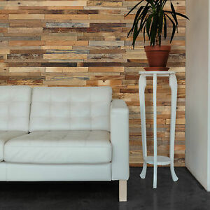 DIY Wall Panel 3D Solid Wood Stripes Nails and Glue Application 10 Sq Ft