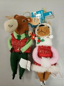 "NWT, Target Plush Holiday Critters Set Of 2, 7"" Ornaments Moose"