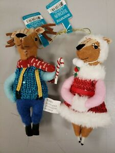 "NWT, Target Plush Holiday Critters Set Of 2, 7"" Ornaments Reindeer"
