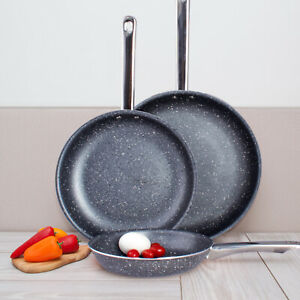 High Quality Non Stick Marble Ceramic 3 pcs. Induction Bottom Frying Pan Set $34.95