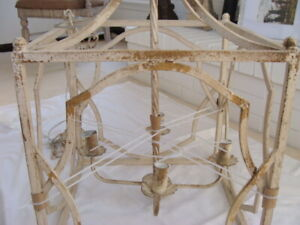 Metal Square Ivory Gold Distressed Farmhouse French Country Shabby Chandelier $245.00