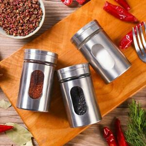 1Pc Stainless Steel Seasoning Spice Bottle Jar BBQ Condiment Salt Box Peppe F9M1