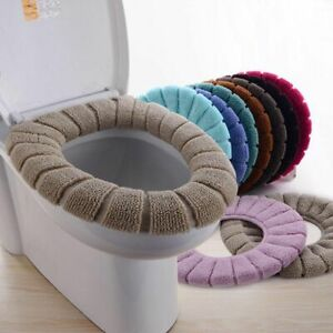Bathroom Toilet Seat Closestool Washable Soft Warmer Mat Cover  Random Color