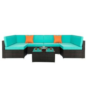 7 PCs Outdoor Patio PE Rattan Wicker Sectional Sofa Furniture Set with Table