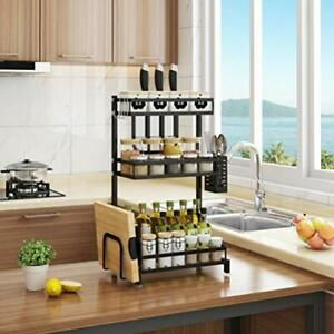 3 Tier Stainless Steel Spice Rack Kitchen Storage Organizer Jars Bottle Shelf AA