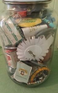 LOT OF MISCELLANEOUS KNICK KNACKS JUNK DRAWER LARGE JAR FULL ODDS