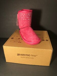 Girls Arctic Paw Boots Sparkle amp; Bow Size 12 Pink