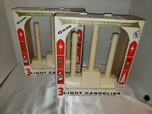 2 Vintage GEM PLASTIC DRIP Christmas Gondolier Electric Window Candle