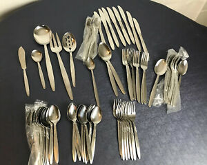 MCM NEW stainless flatware Japan unknown manufacturer 68 piece UNF83 wave patter