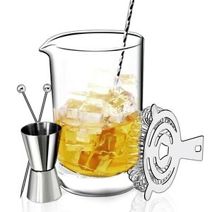 Cocktail Mixing Glass Set: Pitcher, Bar Spoon, Strainer, Jigger