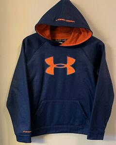 UNDER ARMOUR BOYS XL LOOSE STORM HOODIE PullOver Textured Navy Orange BIG LOGO $12.99