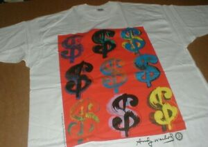 Andy Warhol New Rare 1996 dollar signs $-money XL t-shirt vtg sealed Made in USA