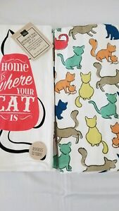 CAT KITCHEN TOWELS, Set of 2  'HOME IS WHERE YOUR CAT IS' New, Hand Towel
