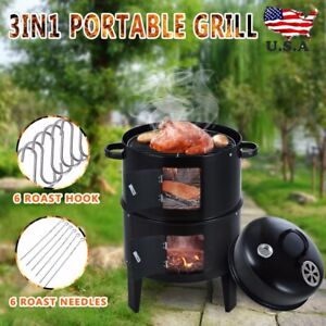 3 in 1 Charcoal Vertical Smoker Grill BBQ Roaster Steel Barbecue Cooker Outdoor
