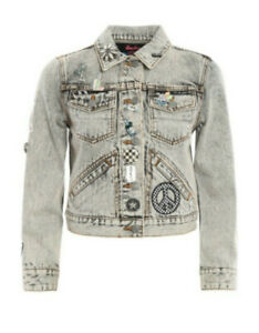 MARC JACOBS - Gray Denim Paradise Patch Embellished Jean Jacket M