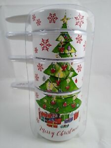 Christmas Tree Ceramic Stacking Baking Measuring Cups Set Of 4 - Happy Holidays