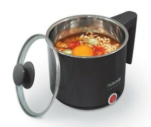 Electric Multi Cooking Pot Ramen Noodle Hot Water Kettle Cooker 1L Stainless BK