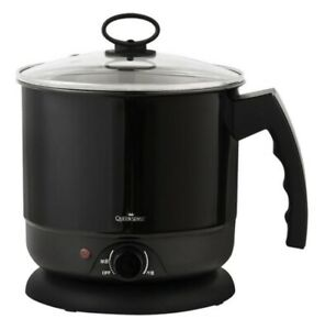 QS Electric Multi Cooking Pot Ramen Noodle Water Kettle Stainless Cooker 1.6L BK