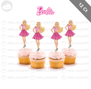 12 Barbie Dolls Girl Birthday  Cupcake Cake Topper Food Pick Favor Party