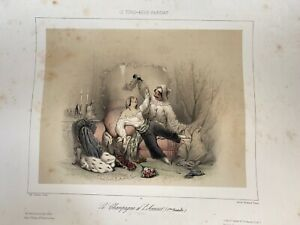 5 Original Vintage French Early 19th Century Romantic Lithographs $300.00
