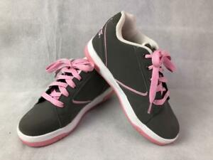 HEELYS PROPEL 2.0 GIRLS LACE UP GRAY PINK COMBO ROLLER SKATING SHOES YOUTH 4 EUC