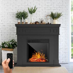 Electric Fireplace Heater Wood Mantel Cabinet LED Logs w/ Remote Control Black