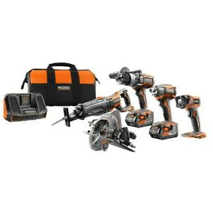 RIDGID Cordless 5 Power Tool Combo Kit 2 Batteries 18V Charger Contractor's Bag