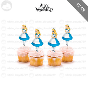 12 Alice in Wonderland Cupcake Cake Topper Food Birthday Party Girl