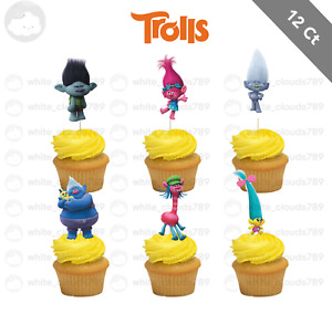 12 Trolls Cupcake Cake Topper Food Birthday Party Kids