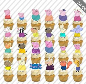 12 Peppa Pig George Mummy Daddy Cupcake Cake Topper Food Birthday Party Kids