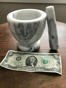 HEAVY FOOTED CARRARA MARBLE MORTAR & PESTLE ● GRIND HERBS SPICES GRAINS PILLS ●