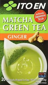 Ito En Authentic Japanese Style Ginger Flavored Matcha Green Tea 20 Bags (30g)