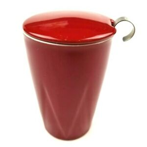 Tea Forte Kati Steeping Cup with Infuser Ceramic Red Excellent Condition