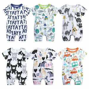 NEW USA Newborn Unisex Girl Boy Baby Bodysuit Cotton Short Sleeve Romper Clothes $10.49