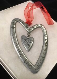 """Cathedral Art Double Heart Ornament """"MOM You Make The World A Better Place"""" 3.4"""""""