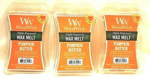 NEW WOODWICK HIGHLY SCENTED PUMPKIN BUTTER WAX MELTS 3 OZ. LOT OF 3 PACKAGES