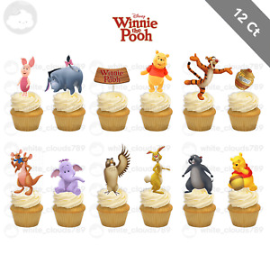 12 Winnie the Pooh Bear Cupcake Cake Topper Food Pick Favor Party Birthday Kid