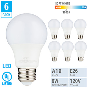 6 Pack LED A19 Bulb 9W 60W Equivalent Non Dimmable 3000K Soft White Medium E26