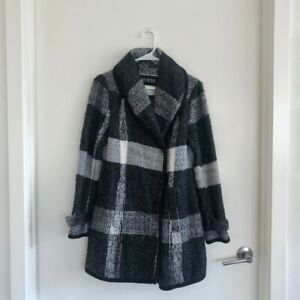 Guess Large Plaid Tweed Style Coat Black amp; White Size S Excellent Condition