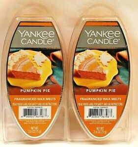 NEW YANKEE CANDLE PUMPKIN PIE FRAGRANCED WAX MELTS 2.6 OZ. LOT OF 2 PACKAGES