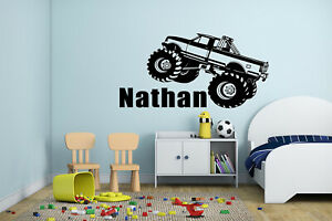Monster Truck Kids Bedroom Baby Custom Name Wall Vinyl Decor Mural Sticker