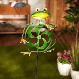 Green FROG Kinetic wind Sculpture spinner metal outdoor statue Pinwheel stake $53.90