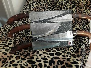 Damascus Steel Knife Kitchen Rose Wood 5pc Chef Knife Set w Magnetic Display