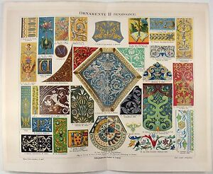 Ornamentation from the Renaissance - Original 1888 Chromolithograph by Meyers $18.00