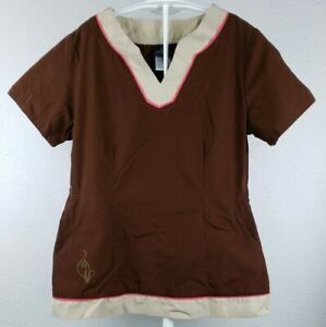 Brown Baby Phat Scrub Small Two pockets in front Short Sleeve