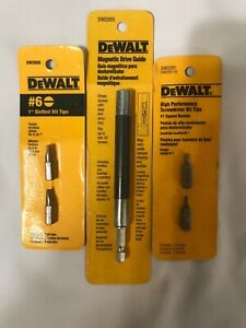 Dewalt DW2055 Magnetic Drive Guide, 6-In. + Slotted An Square Bits . New