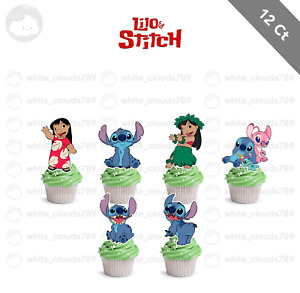 12 Lilo and Stitch Birthday Cupcake Cake Toppers Food Picks Favor Party Kids