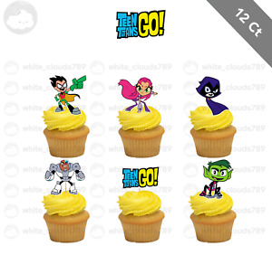 12 Teen Titans Go Birthday Cupcake Cake Toppers Food Picks Favor Party Kids