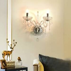 Modern Clear Silver Crystal Wall Sconce Light Bedroom Wall Lighting Fixture Lamp