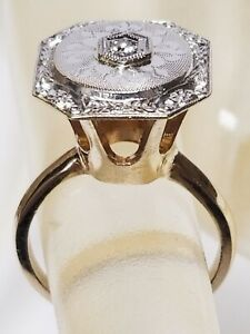 Antique DECO 14K Gold Diamond Milgrain Ring VERY High Cathedral Setting 4.20g $275.00